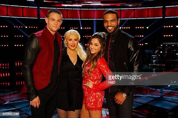 THE VOICE 'Live Playoffs' Episode 1012C Pictured Nick Hagelin Christina Aguilera Alisan Porter Bryan Bautista