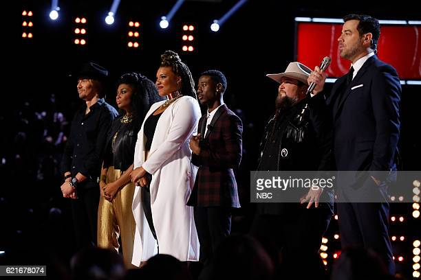 THE VOICE Live Playoffs Episode 1113A Pictured Austin Allsup Courtney Harrell Dana Harper Jason Warrior Sundance Head Carson Daly