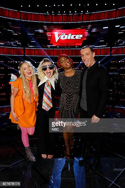 THE VOICE Live Playoffs Episode 1113A Pictured Darby Walker Miley Cyrus Ali Caldwell Aaron Gibson