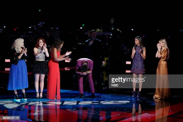 THE VOICE 'Live Playoffs' Episode 1214A Pictured Aaliyah Rose Casi Joy Felicia Temple TSoul Carson Daly Aliyah Moulden Lauren Duski