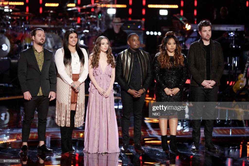 THE VOICE -- 'Live Playoffs' Episode 1414A -- Pictured: (l-r) Drew Cole, Mia Boostrom, Jackie Verna, Rayshun Lamarr, Sharane Calister, Reid Umstattd --