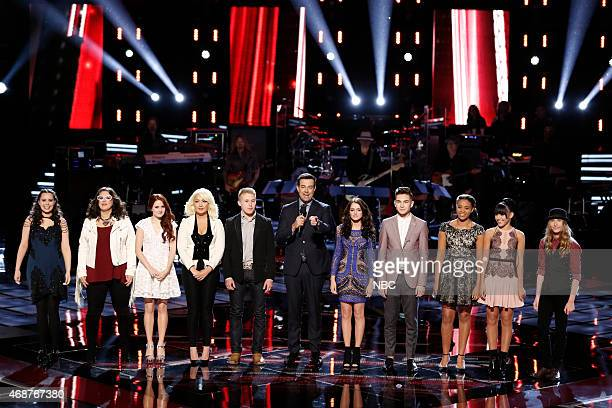 THE VOICE Live Playoffs Episode 812A Pictured Hannah Kirby Sarah Potenza Brooke Adee Meghan Linsey Corey Kent White Carson Daly Caitlin Caporale...