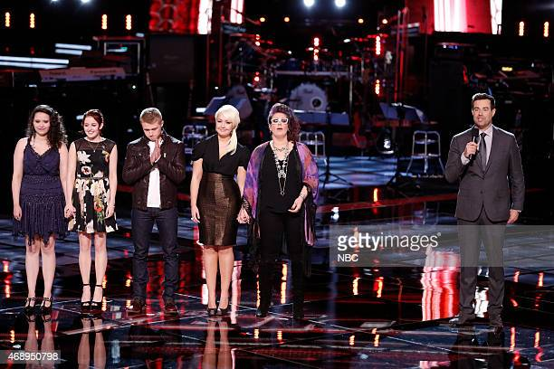 "Live Playoffs"" Episode 812C -- Pictured: Hannah Kirby, Brooke Adee, Corey Kent White, Meghan Linsey, Sarah Potenza, Carson Daly --"