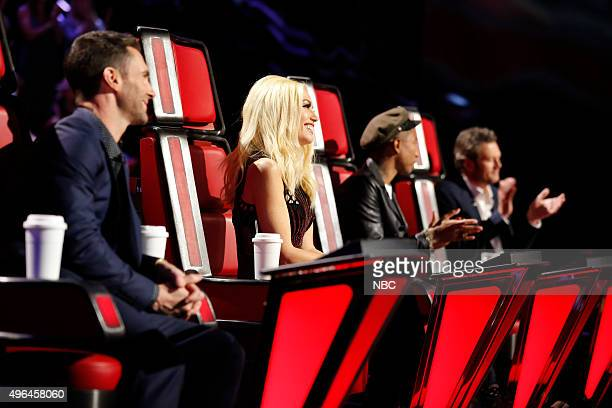 THE VOICE 'Live Playoffs' Episode 913A Pictured Adam Levine Gwen Stefani Pharrell Williams Blake Shelton