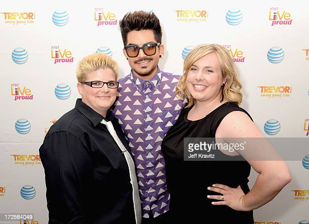 Live Proud contest winner Crystal Elvig singer Adam Lambert and Jackie Beehler attend the Adam Lambert Live Proud campaign finale event with ATT and...