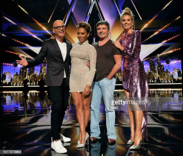 "Live Quarter Finals Results 1"" Episode 1312 -- Pictured: Howie Mandel, Mel B, Simon Cowell, Heidi Klum --"