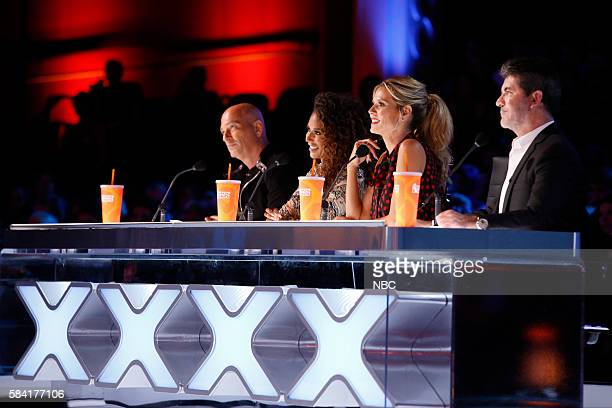 S GOT TALENT 'Live Results 1' Episode 1113 Pictured Howie Mandel Mel B Heidi Klum Simon Cowell