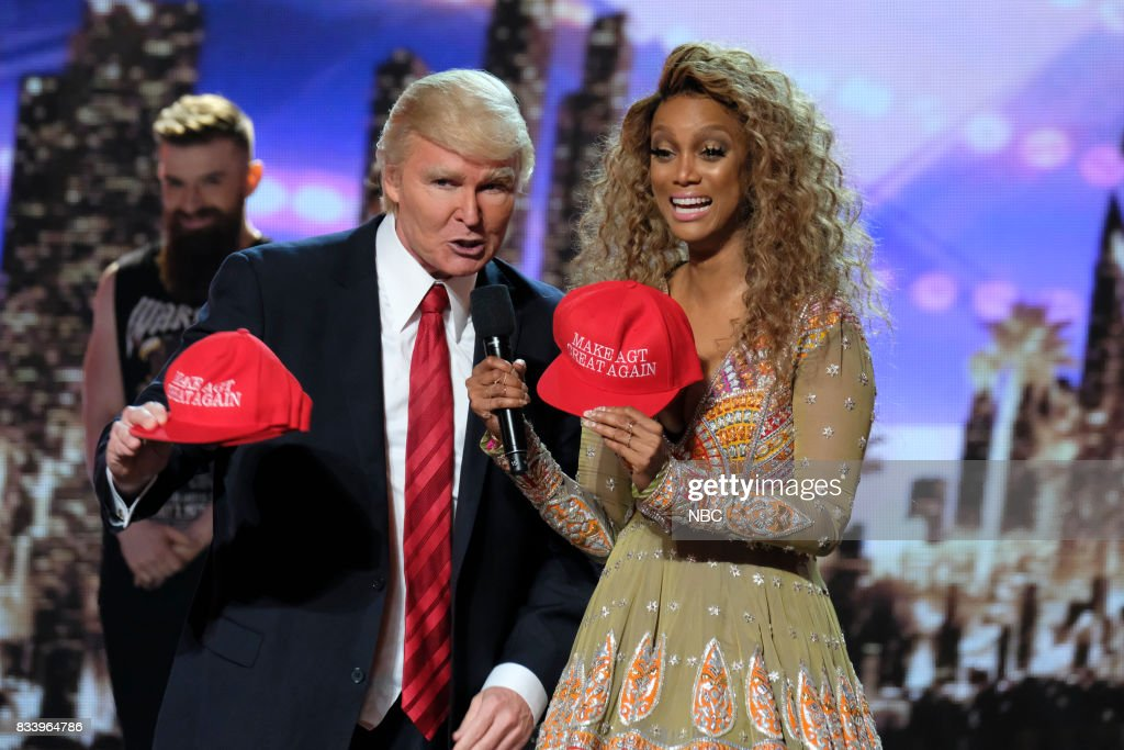 S GOT TALENT -- 'Live Results 1' Episode 1214 -- Pictured: (l-r) The Singing Trump, Tyra Banks --