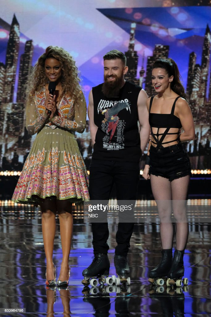 S GOT TALENT -- 'Live Results 1' Episode 1214 -- Pictured: (l-r) Tyra Banks, Billy & Emily England --