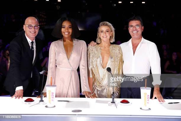 "Live Results Finale"" Episode 1423 -- Pictured: Howie Mandel, Gabrielle Union, Julianne Hough, Simon Cowell --"