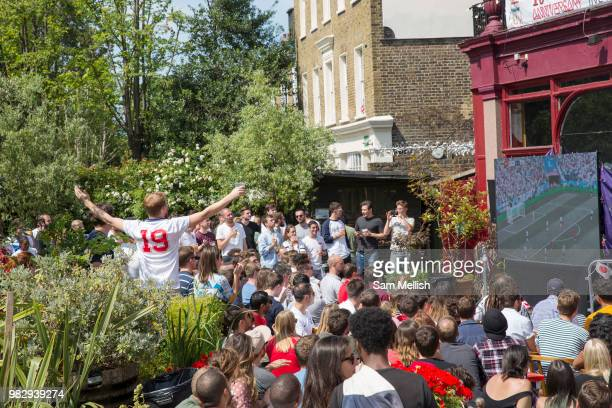 Live screening of England's 6 1 win against Panama at the popular South London bar and music venue, the Hootananny, during Group Gs match of the 2018...