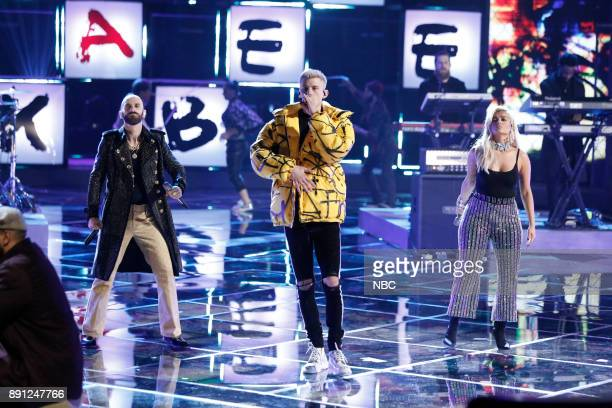 THE VOICE 'Live Semi Finals' Episode 1320B Pictured Sam Harris with X Ambassadors Machine Gun Kelly Bebe Rexha