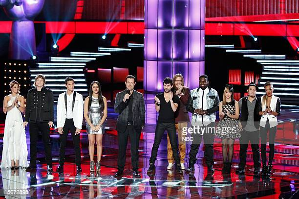 THE VOICE Live Show Episode 319A Pictured Cassadee Pope Terry McDermott Dez Duron Sylvia Yacoub Carson Daly Cody Belew Nicholas David Trevin Hunte...