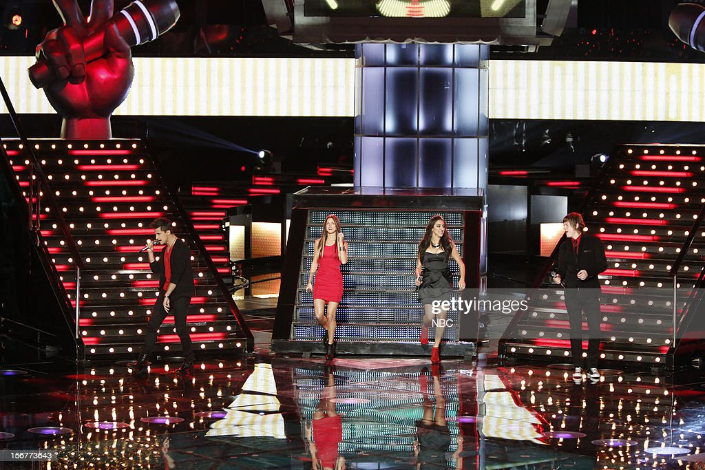 THE VOICE -- 'Live Show' Episode 319B -- Pictured: (l-r) Dez Duron, Cassadee Pope, Sylvia Yacoub, Terry McDermott --