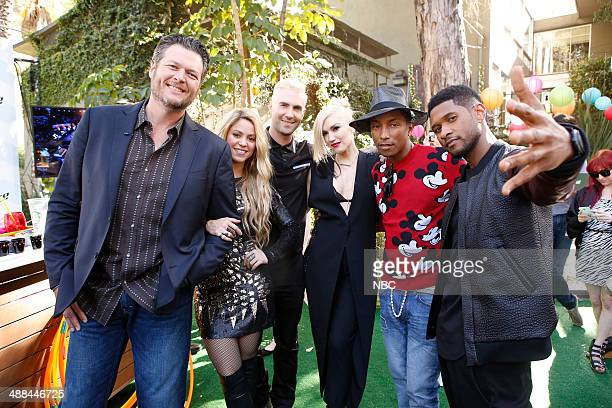 THE VOICE 'Live Show' Episode 619A Pictured Blake Shelton Adam Levine Gwen Stefani Pharrell Williams Usher