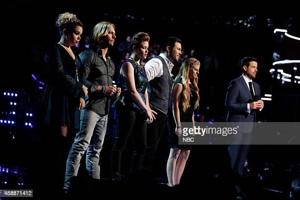 THE VOICE Live Show Episode 713C Pictured Taylor Brashears Craig Wayne Boyd Reagan James James David Carter Jessie Pitts Carson Daly