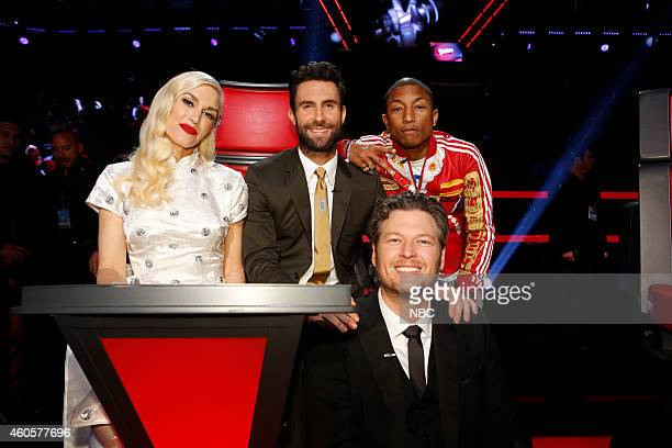 THE VOICE Live Show Episode 718B Pictured Gwen Stefani Adam Levine Pharrell Williams Blake Shelton
