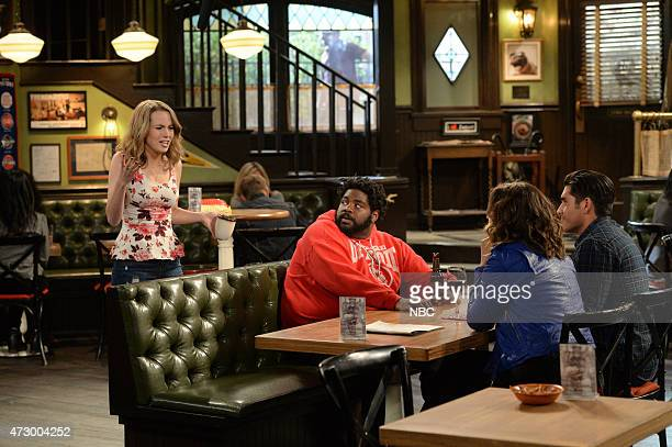 UNDATEABLE A Live Show Walks Into A Bar Episode 209B Pictured Bridgit Mendler as Candace Ron Funches as Shelly Bianca Kajlich as Leslie Mike...