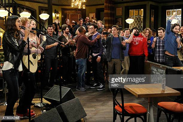 UNDATEABLE A Live Show Walks Into A Bar Episode 209B Pictured Victoria Justice as Amanda Ed Sheeran as himself Bridgit Mendler as Candace Donald...