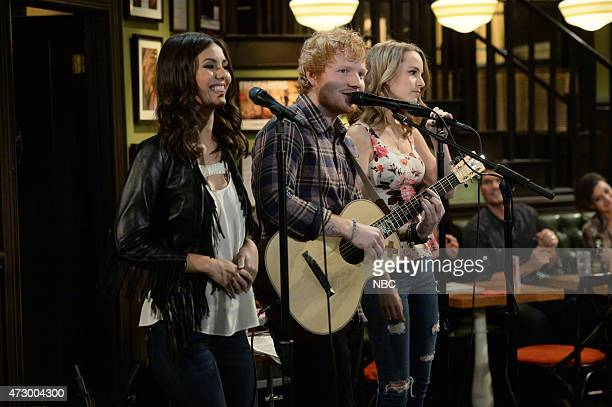 UNDATEABLE A Live Show Walks Into A Bar Episode 209B Pictured Victoria Justice as Amanda Ed Sheeran as himself Bridgit Mendler as Candace