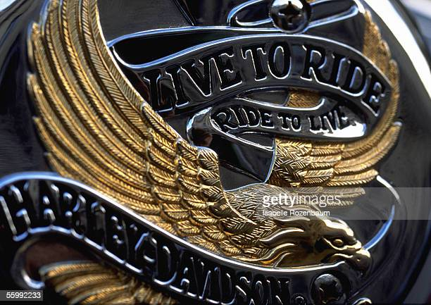 Live to Ride typography on eagle emblem, embossed.