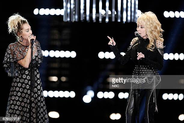 THE VOICE Live Top 10 Episode 1116B Pictured Miley Cyrus Dolly Parton
