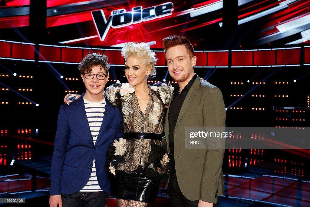 THE VOICE -- 'Live Top 10' Episode 916B -- Pictured: (l-r) Braiden Sunshine, Gwen Stefani, Jeffery Austin --