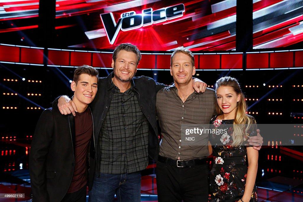 THE VOICE -- 'Live Top 10' Episode 916B -- Pictured: (l-r) Zach Seabaugh, Blake Shelton, Barrett Baber, Emily Ann Roberts --