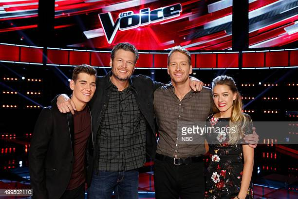 THE VOICE Live Top 10 Episode 916B Pictured Zach Seabaugh Blake Shelton Barrett Baber Emily Ann Roberts