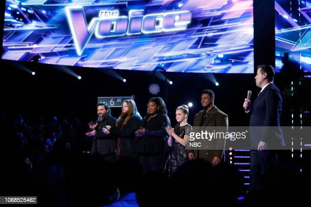 THE VOICE Live Top 10 Results Episode 1517B Pictured Dave Fenley Chris Kroeze Kymberli Joye Sarah Grace DeAndre Nico Carson Daly