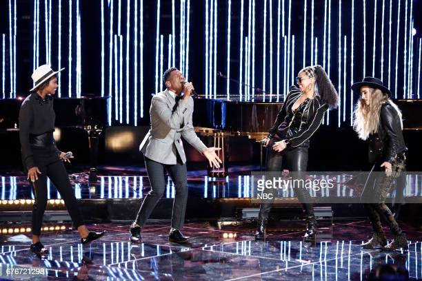THE VOICE Live Top 11 Episode 1216B Pictured Vanessa Ferguson Chris Blue Alicia Keys Stephanie Rice