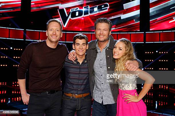 THE VOICE Live Top 11 Episode 915B Pictured Barrett Baber Zach Seabaugh Blake Shelton Emily Ann Roberts