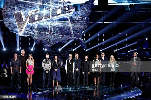 THE VOICE 'Live Top 11' Episode 915B Pictured Zach Seabaugh Barrett Baber Emily Ann Roberts Evan McKeel Madi Davis Korin Bukowski Jeffrey Austin...