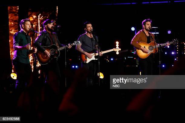 THE VOICE 'Live Top 12' Episode 1114B Pictured Billy Gilman Josh Gallagher Adam Levine Brendan Fletcher