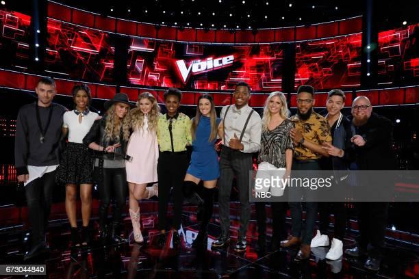 THE VOICE 'Live Top 12' Episode 1215B Pictured Hunter Plake Aliyah Moulden Stephanie Rice Brennley Brown Vanessa Ferguson Lilli Passero Chris Blue...