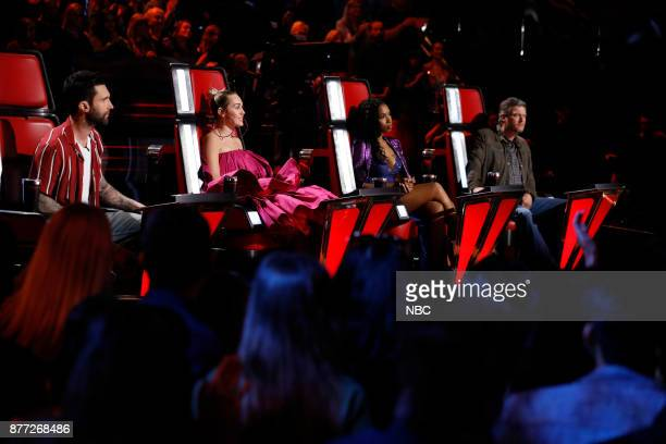 THE VOICE 'Live Top 12' Episode 1317B Pictured Adam Levine Miley Cyrus Jennifer Hudson Blake Shelton