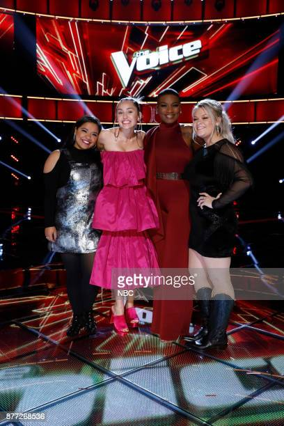 THE VOICE 'Live Top 12' Episode 1317B Pictured Brooke Simpson Miley Cyrus Janice Freeman Ashland Craft