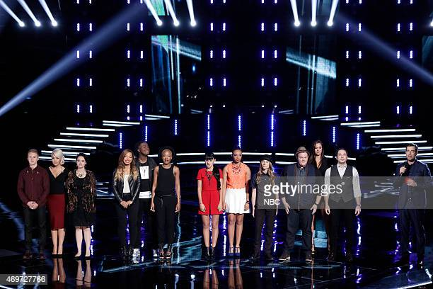 THE VOICE Live Top 12 Episode 813B Pictured Corey Kent White Meghan Linsey Hannah Kirby India Carney Rob Taylor Kimberly Nichole Mia Zanotti Koryn...