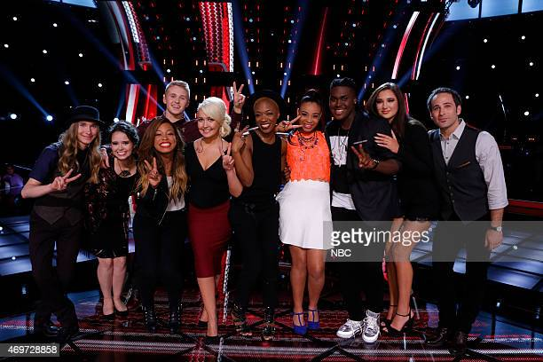 THE VOICE Live Top 12 Episode 813B Pictured Sawyer Fredericks Hannah Kirby Corey Kent White India Carney Meghan Linsey Kimberly Nichole Koryn...