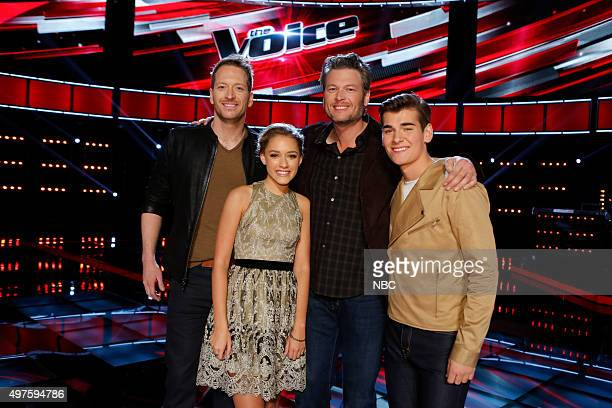 THE VOICE Live Top 12 Episode 914B Pictured Barrett Baber Emily Ann Roberts Blake Shelton Zach Seabaugh