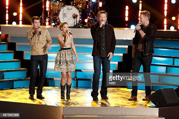 THE VOICE Live Top 12 Episode 914B Pictured Zach Seabaugh Emily Ann Roberts Blake Shelton Barrett Baber