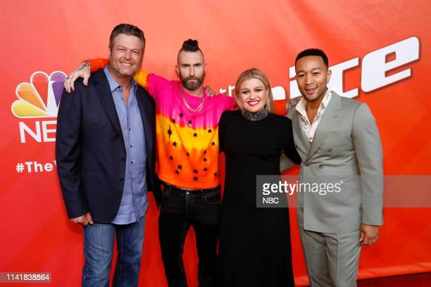 THE VOICE Live Top 13 Episode 1614A Pictured Blake Shelton Adam Levine Kelly Clarkson John Legend
