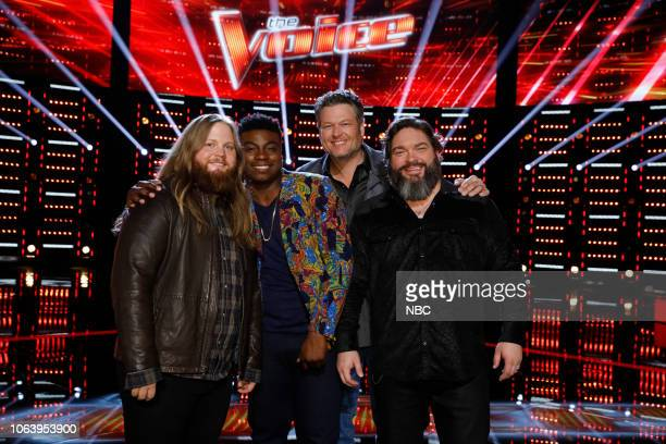 THE VOICE Live Top 13 Results Episode 1515B Pictured Chris Kroeze Kirk Jay Blake Shelton Dave Fenley