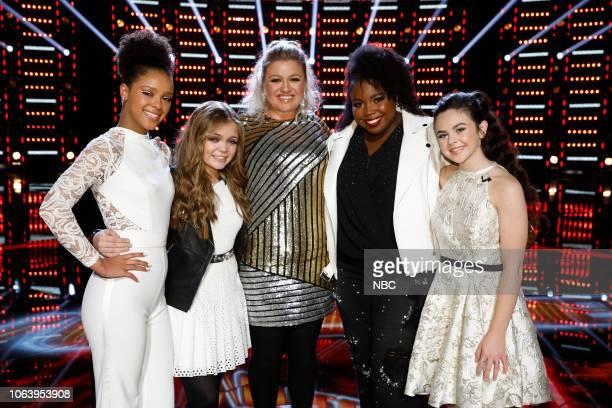 THE VOICE Live Top 13 Results Episode 1515B Pictured Lynnea Moorer Sarah Grace Kelly Clarkson Kimberli Joye Chevel Shepherd