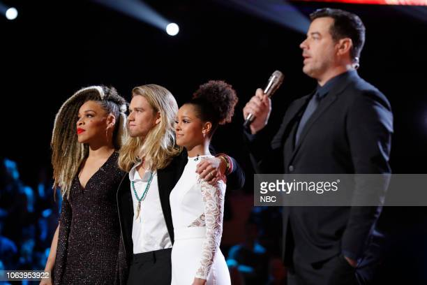 THE VOICE Live Top 13 Results Episode 1515B Pictured SandyRedd Tyke James Lynnea Moorer Carson Daly
