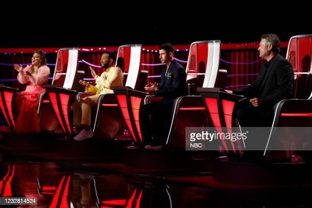 "Live Top 17 Performances"" Episode 2012A -- Pictured: Kelly Clarkson, John Legend, Nick Jonas, Blake Shelton --"