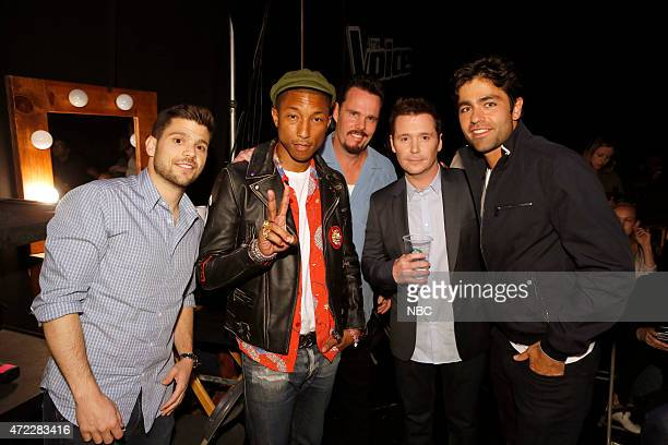 THE VOICE Live Top 6 Episode 816B Pictured Jerry Ferrara Pharrell Williams Kevin Dillon Kevin Connolly Adrian Grenier