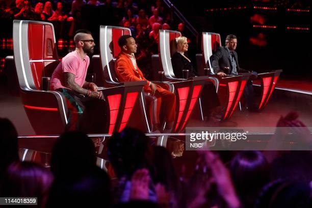 "Live Top 8"" Episode 1615A -- Pictured: Adam Levine, John Legend, Kelly Clarkson, Blake Shelton --"