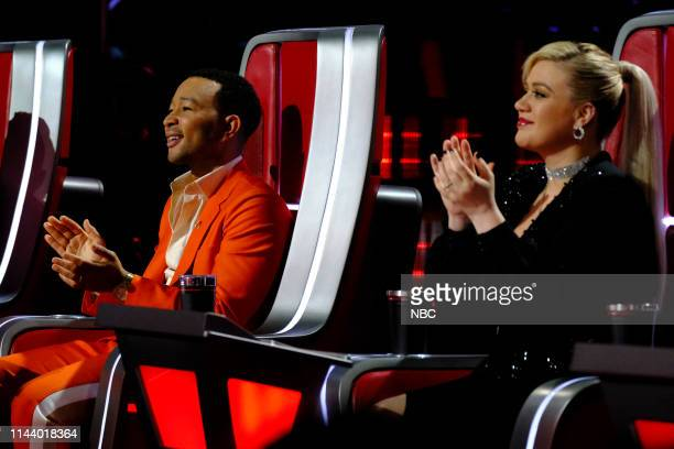 "Live Top 8"" Episode 1615A -- Pictured: John Legend, Kelly Clarkson --"