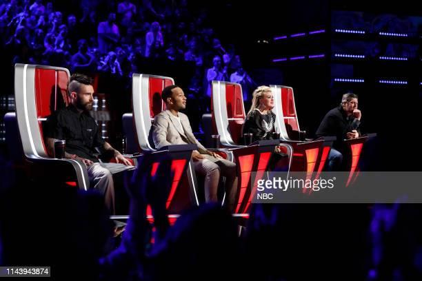 "Live Top 8 Results"" Episode 1615B -- Pictured: Adam Levine, John Legend, Kelly Clarkson, Blake Shelton --"